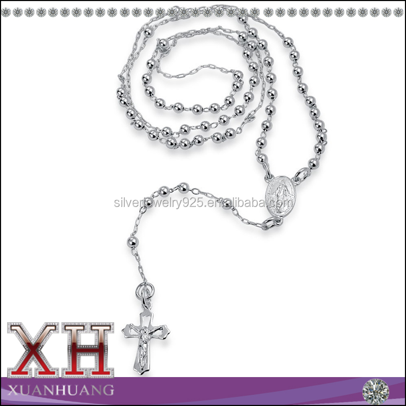 925 Silver Jesus Crucifix Rosary Bead Cross Necklace 24 Inch
