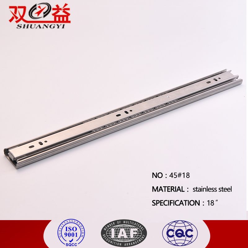Hot 45MM 3 Fold Heavy Duty Silent Smooth soft Close Ball Bearing SS Telescopic channel Drawer Slide