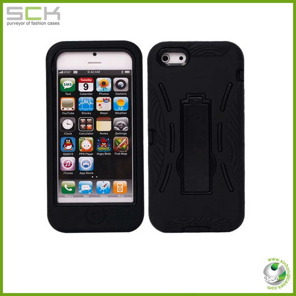 strong crash-proof rubber case with stand for iphone 5