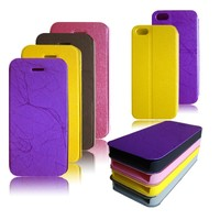 ultra thin pu material leather cell phone case for iphone5