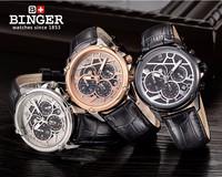NEW Switzerland watches men luxury brand Wristwatches BINGER Quartz watch full stainless steel Chronograph Diver watch
