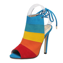 HFCS043 Fashion comfortable fish mouth ankle strap rainbow high heel sandals