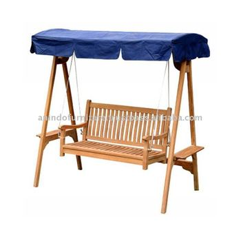 Teak Patio Furniture - Swing Bench with Canopy