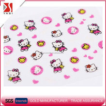 WF hello kitty cat love heart pink 3D self adhesive light glitter nail art decals cute cartoon UV decoration stickers for kids