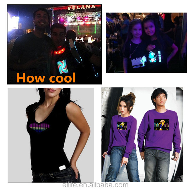 Creat your own logo DJ party event promotional sound effect led t shirt