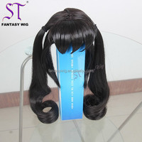 "14""China Factory Wholesale Cheap Toy Doll Anime Cosplay Layered Straight Black Wig Japanese Synthetic Hair With Double Ponytails"
