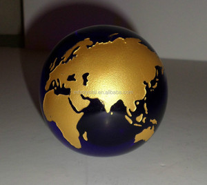Gold Maps Crystal Globe Paperweight Blue MH-Q0133