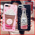 Drink Bottle Quicksand Case for iphone 7 7Plus Dynamic Liquid Glitter Case For iphone 6 6s 6Plus Girl Style