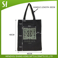 black cotton carry bag/custom canvas tote bag printing