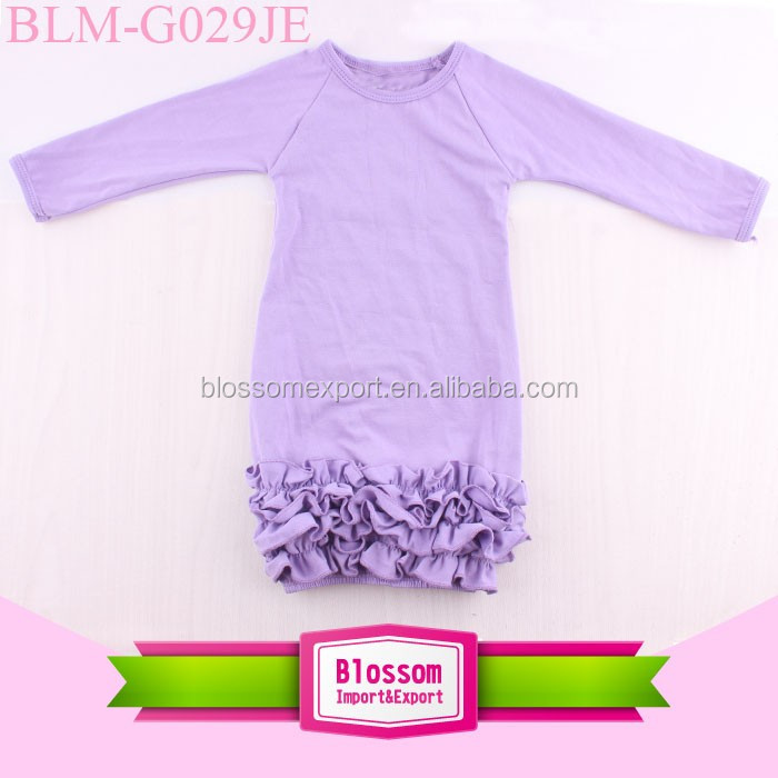 2017 Boutique Girl Clothing Newborn Baby Night Gown Around Triple Icing Ruffle Bottom Long Sleeve Baby Icing Ruffle Raglan Gown