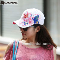 Lady's bamboo cotton wash butterflies embroidered baseball caps and hats