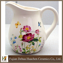wholesale flower pattern ceramic jug kettle