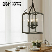 Industrial Retro Classic Iron Lantern Candle Stick Clear Glass shade pendant Chandelier Lighting