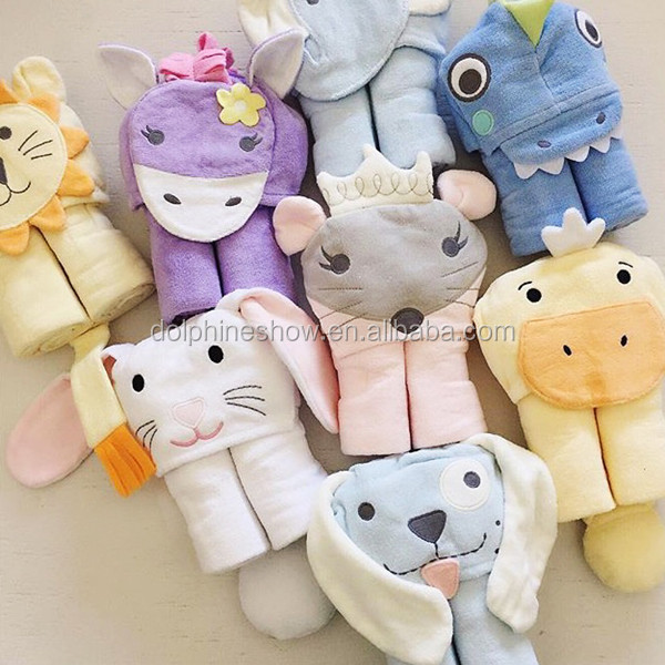 100% Bamboo and cotton terry cloth pretty custom cute white unicorn toy hooded baby bath towel