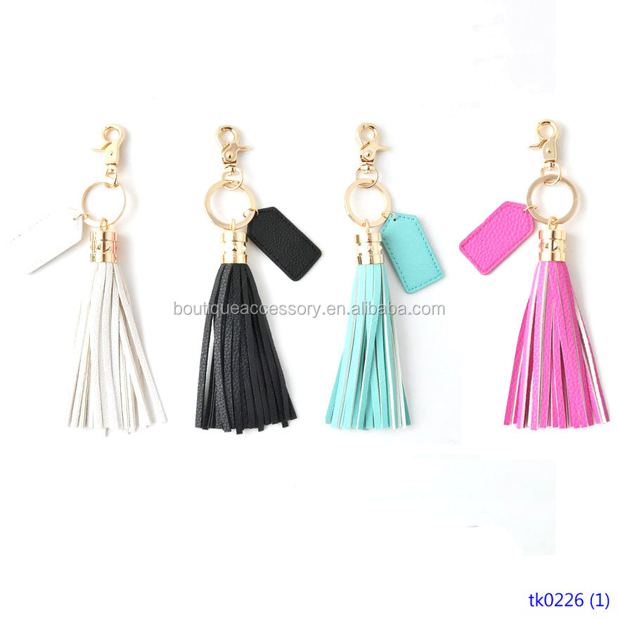 Bag or Car Key Chain Ring For Woman Monogrammed Leather Tassel Keychain