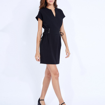 Classy Designer Discount Semi Short Vneck Short Sleeve Black Bandage Sexy Casual Tight Dress