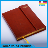 Sewing binding cheap professional leather cover notebook printing