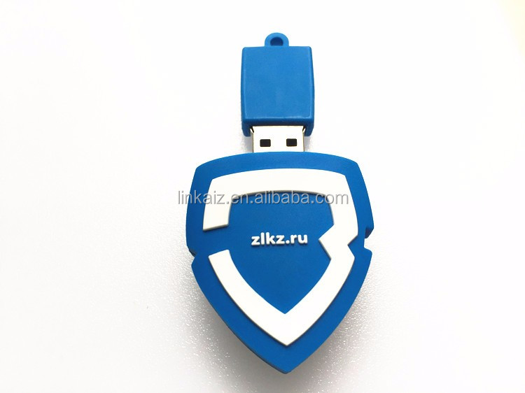 Custom logo shield shape 3D pvc usb flash memory