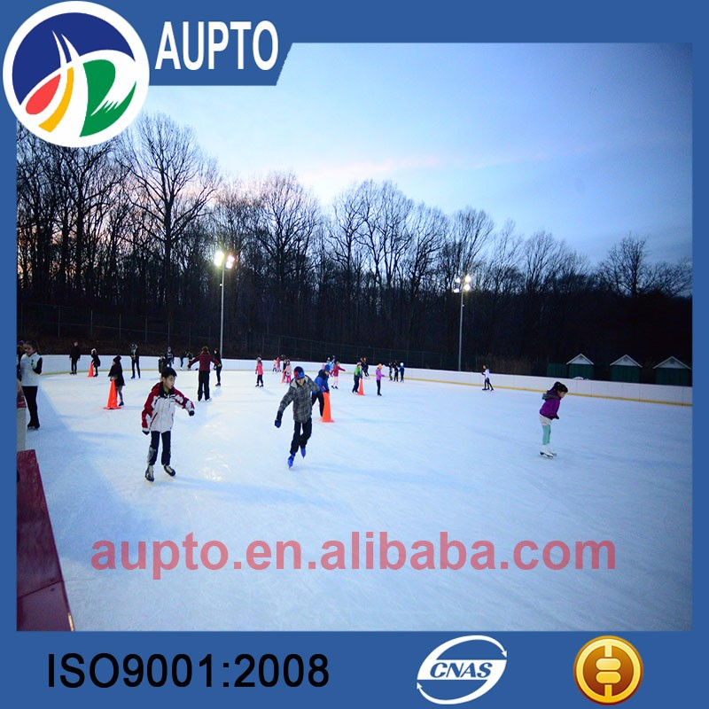 Self lubricating plastic synthetic ice sheet / outdoor backyard hockey rink