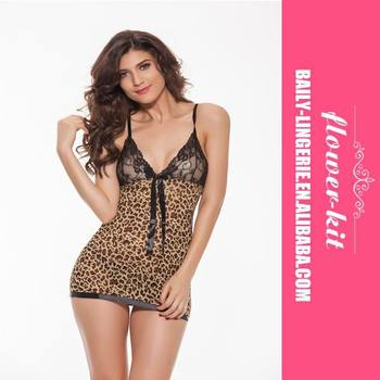 High Fashion Sexy Leopard Lace Babydoll Sexy Queen Size Babyd Sexy V-neck Erotic Babydoll Sexy Mature Babydoll