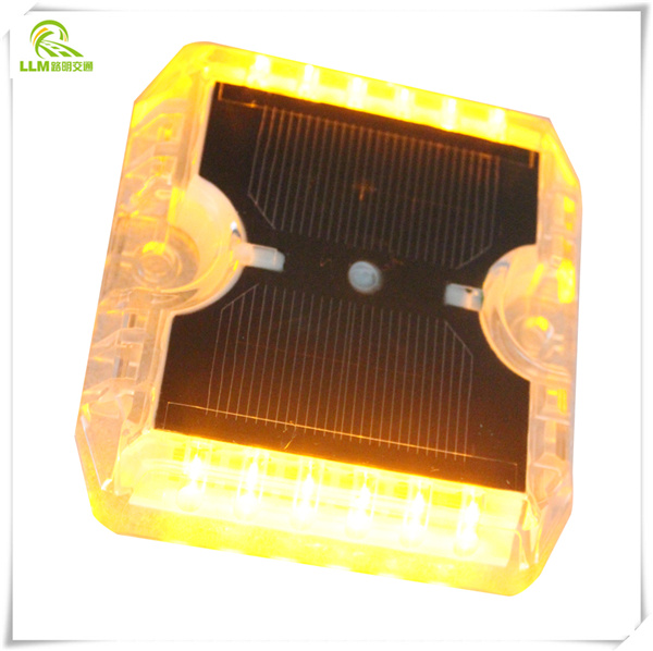 Wholesale double side 6pcs LED high brightness plastic solar cat eye road marker