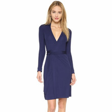 factory ladies blue v neck Office Wear Pencil Business Dresses