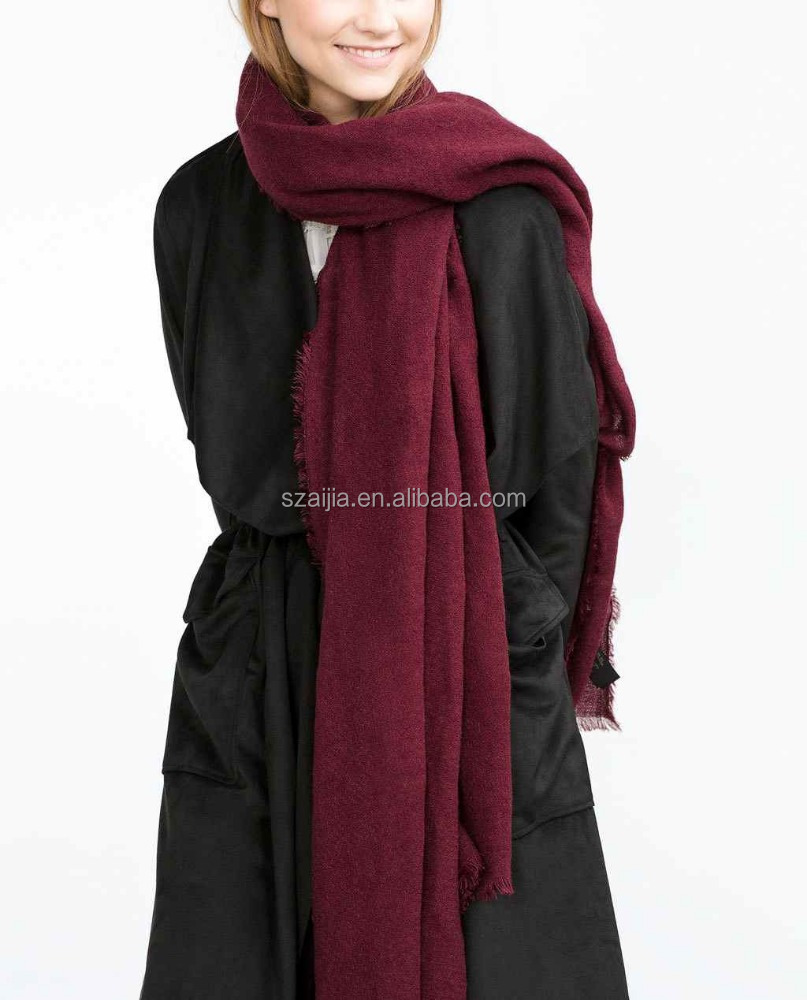 Faux cashmere long fringe solid women scarf