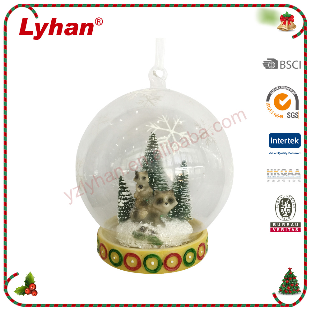 Lyhan 2016 new design glass and poly hanging pot with LED christmas tree ornament