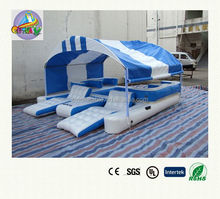 inflatable island floating lounge with canopy/inflatable lounge chair/inflatable water lounge