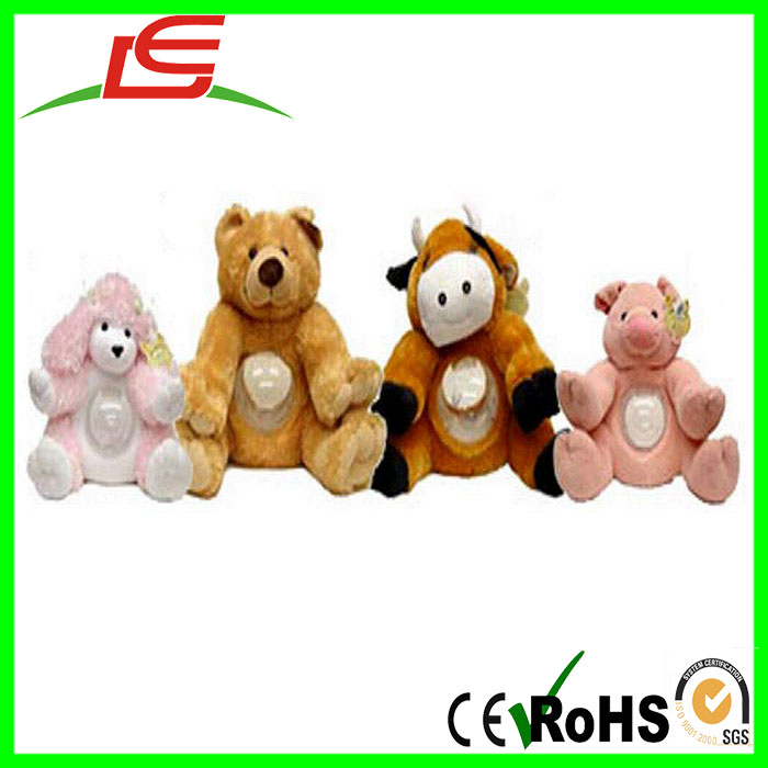 hot sale plush stuffed animal sound belly banks