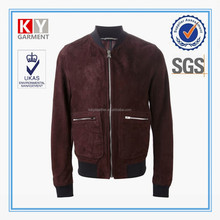 red suede baseball style man winter jackets manufacturer in china