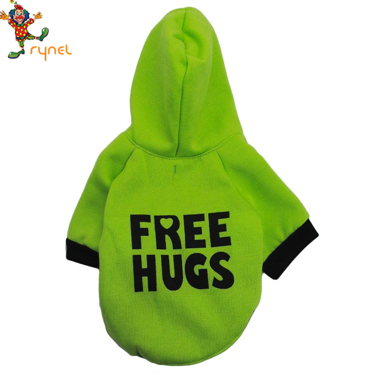 PGPC0606 Wholesale Cute Fleece Printing Letter Green Cotton Pet Dog Hoodies Coat Clothes