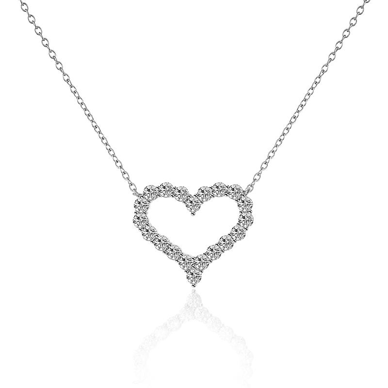 New arrival 18 K white sparkly French cut cubic Zirconia crystal forever love heart shape women necklace