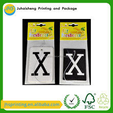 Chinese supplier auto scent custom car air freshener with printed paper card header