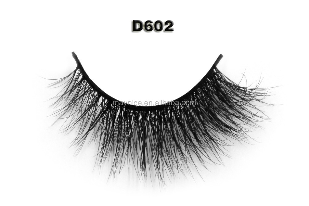 D602 2015 new products Hot sale hand made 100% real 3d mink fur strip false lash,custom package