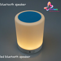 2015 professional multi color changing hifi music portable wireless mini bluetooth speaker with hook led light for bedroom table