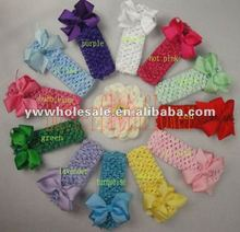 1.5crochet headbands with cliped ribbon bows.