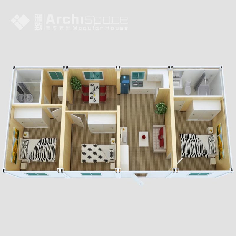 3 bedroom prefab modular home with apartment