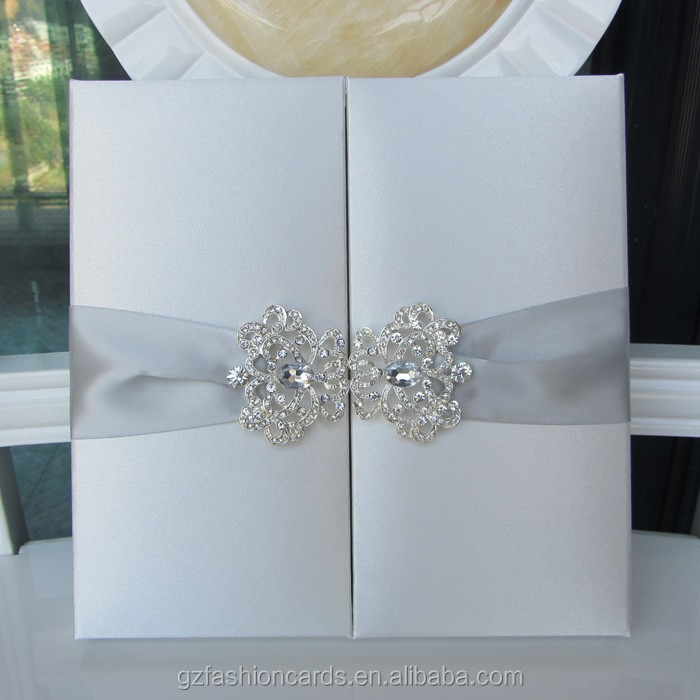 Luxury Wedding Gatefold Silk Invitation Box with Brooch
