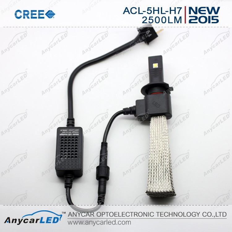 Hot selling CREE led headlight H7 2500lumen with CE Rosh certification