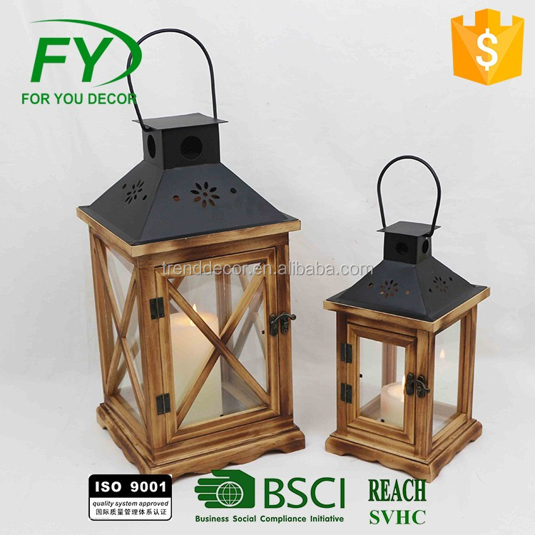Ml-1928 Set Of 2 Square Garden Wooden Lantern & Wholesale Lanterns With Stainless Steel Handle, Candle Lantern