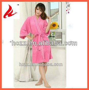 New Product! Women use, pink color, 100% cotton Bath Robe