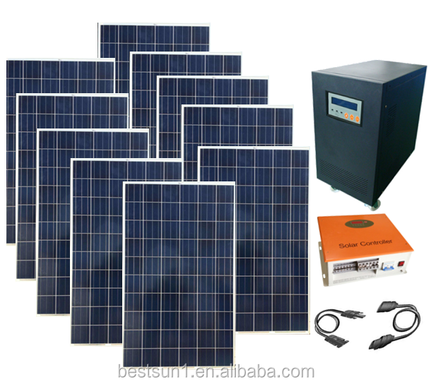 BPS-10000W Completely off Grid 10KW Home Solar System with Solar Battery Backup