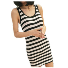 2016 New Designer Hot Sale Women Round Neck Fashion Black and White Striped Sleeveless vest Straight Short Casual Dress