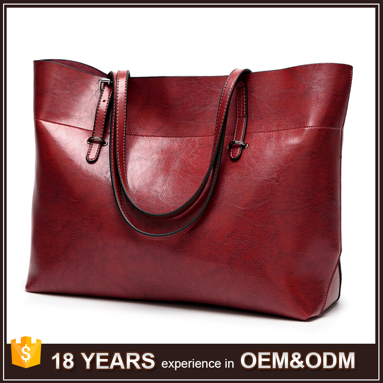The High Capacity Design Vintage PU Leather Ladies Tote Bags for Work