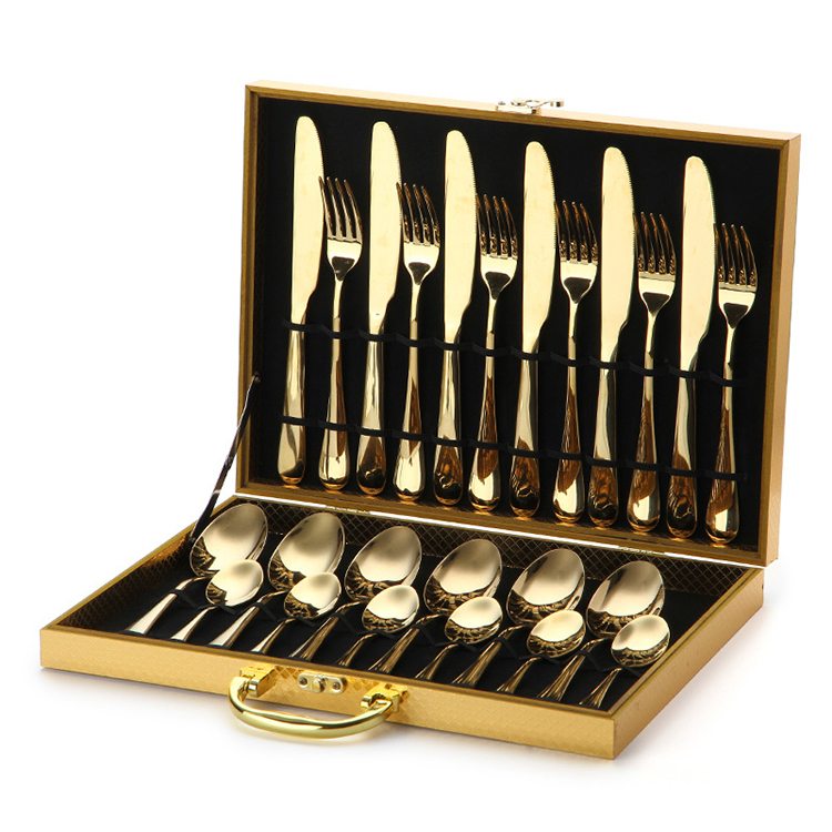 Classic 24 Piece Gold Stainless Steel Cutlery <strong>Set</strong> For GIft Weeding Party
