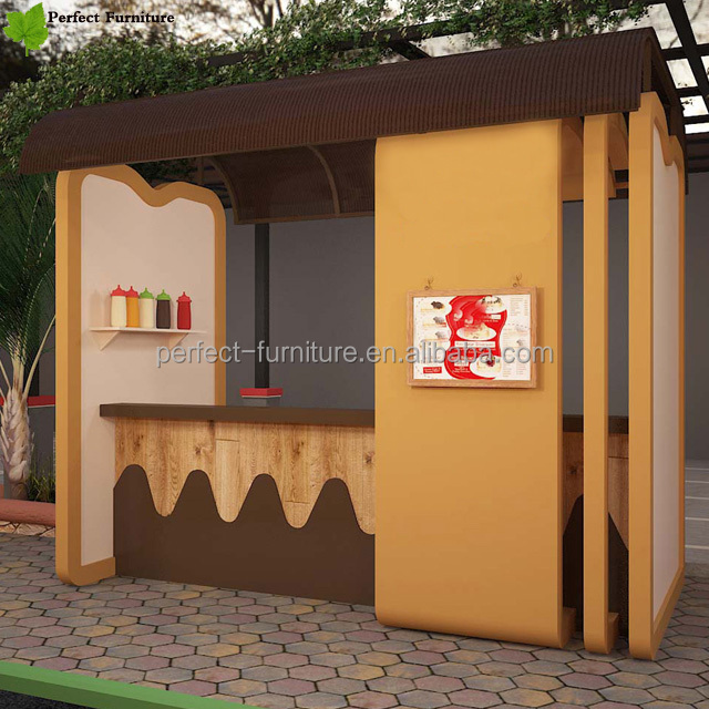 Selling Mall Food Kiosk, Wooden Coffee Kiosk Design with Chairs for Sale