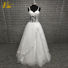Wholesale Straps See Through Lace Up Floor Length Ivory Wedding Party Dress For Bride