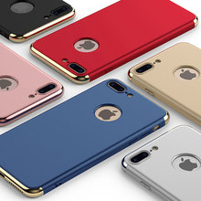 3 in 1 electroplated pc bumper matte hard plastic mobile phone <strong>case</strong> for iphone 7 plus