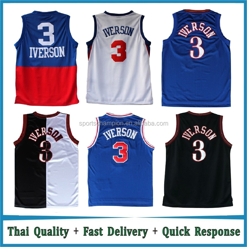Custom Throwback Jersey Stitched Blue / Black / White Basketball Jersey